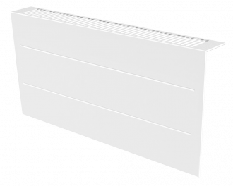 Stijlvolle metalen radiatorbekleding en design front met duurzame poedercoating in kleur wit, RAL 9010. Geschikt voor 1200 Watt liggende elektrische radiator. Kan eenvoudig over de radiator geplaatst worden, zonder boren of schroeven.