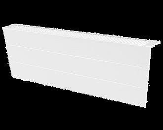 Stijlvolle metalen radiatorbekleding en design front met duurzame poedercoating in kleur wit, RAL 9010. Geschikt voor 2000 Watt liggende elektrische radiator. Kan eenvoudig over de radiator geplaatst worden, zonder boren of schroeven.