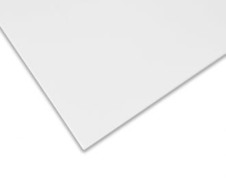 Detailfoto van de gladde voorzijde en afgeronde randen van de infraroodverwarming. De poedercoating is gematteerd, in kleur signaalwit (RAL 9003).