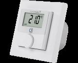 De Homematic IP thermostaat met 230V schakelende uitgang meet temperatuur en luchtvochtigheid en is geschikt voor inbouw in een inbouwdoos in de wand.