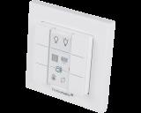 De Homematic IP drukknop met zes knoppen werkt op batterijen en is geschikt voor opbouw montage aan de wand.