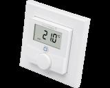 De draadloze Homematic IP thermostaat meet temperatuur en luchtvochtigheid en is geschikt voor opbouw montage aan de wand.